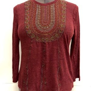 Lucky brand maroon embellished top